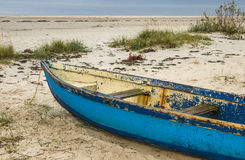 Old blue wooden fishing boat Stock Images