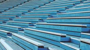 Blue wooden grandstand stadium. Old blue wooden grandstand stadium Stock Image