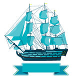 Old blue wooden historical boat on white. Sailing boat with sails, mast, brown deck, guns. Stock Images