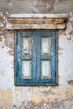 Old blue wooden window vintage building style, Bangkok Thailand Stock Images
