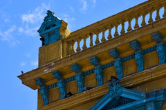 Old blue yellow little terrace  and roof Royalty Free Stock Photos