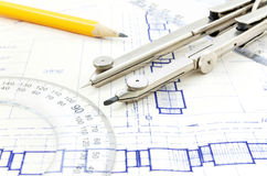 Old blueprint Royalty Free Stock Images