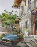 Old boarding house urban watercolor Yalta, Crimea Stock Photos