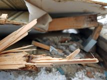 Old boards, repair and construction waste stock image