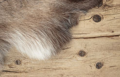Old boards and reindeer fur Royalty Free Stock Photo