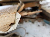 Old boards, repair and construction waste royalty free stock photo