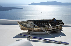 Old boat. And seascape, mountains on back Royalty Free Stock Image