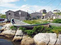 Old Boat. Boat on the rocks in Peggy's Cove Royalty Free Stock Image