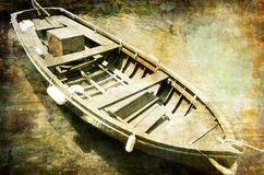 Old boat. Artistic vintage picture with old boat royalty free illustration
