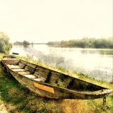 Old boat. Old lonely boat - artwork in pastel colors Royalty Free Stock Photography