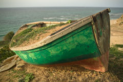 Old boat. Old rowing boat on the coast Royalty Free Stock Images