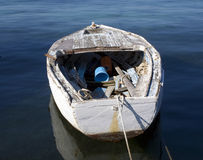Old boat. Old shipping boat anchored in port o Novalja, island Pag, Croatia Stock Photos