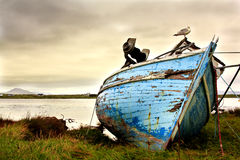 Old boat. Abandoned on the coastline in Ireland. Moody sky and run-down boat express lonliness and sadness Royalty Free Stock Photo