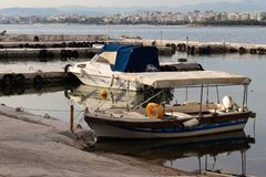 Old boat athens old port seascape fishing boat city view ship stock photo