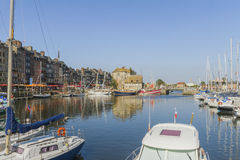 The old boat basin. La Lieutenance and the old boat basin in Honfleur Royalty Free Stock Images