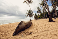 Old boat on beach. Dominican Republic Stock Photos