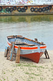 Old boat at beach lifeguard station Royalty Free Stock Photo