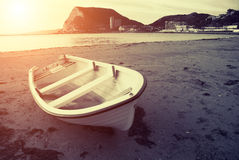 Old boat at sunset Stock Photography