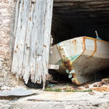 Old boat in a boathouse Royalty Free Stock Image