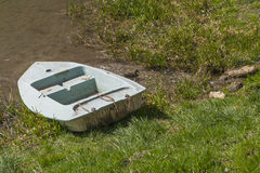 Old boat in cane. Old blue boat in the fish ponds near Krakow Royalty Free Stock Images