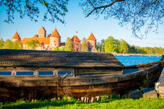 Old boat and castle Stock Photos