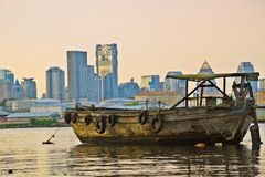 Old boat on Chao Praya river in Bangkok, Tahiland Stock Images