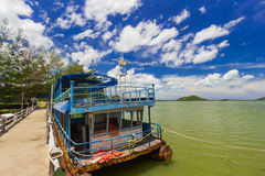 Old boat and concrete Bridge at Koh yo Thailand Royalty Free Stock Photo