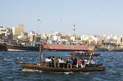 Old boat crossing the dubai creek Royalty Free Stock Photo