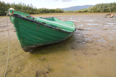 Old boat on dry lake Stock Image