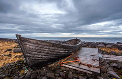 Old boat on dry land. Royalty Free Stock Image