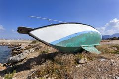 Old boat on dry land. On the island Crete in Greece Royalty Free Stock Photography
