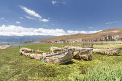 Old boat at Erhai lake in Dali, Yunnan China. Stock Photos