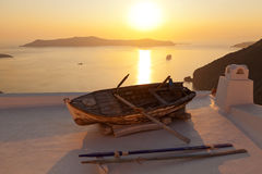 Old boat in Firostefani, Santorini Stock Images