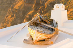 Old boat in Firostefani, Santorini Royalty Free Stock Photography