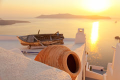 Old boat in Firostefani, Santorini Royalty Free Stock Images