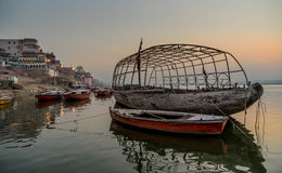 An Old boat at Ganges River Stock Photo