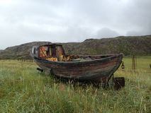 The old boat on the grass Royalty Free Stock Image