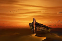 Old boat. A old boat kept in the middle of a desert during sunset Royalty Free Stock Photography