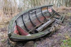 Old Boat. On land at Stångån in city of Linköping, Sweden royalty free stock images