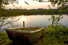 Old boat. Lying in Renneborg, the Netherlands royalty free stock photography
