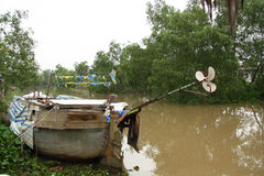 Old Boat in Mekong Delta Stock Images
