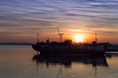 The boat and sunset Royalty Free Stock Photo