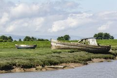 Old boat moored up. On the side of the river Brue Royalty Free Stock Photo