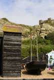 Old boat and net huts, Hastings Royalty Free Stock Photos