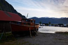Old boat in norway royalty free stock photo