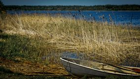 Old boat with oars layng on a lake shore Royalty Free Stock Photos