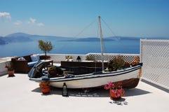 Old boat in Oia. (Santorini island, Greece stock photography