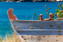 Old boat. Olad fishing boat on ground in monastery chilandarou stock images