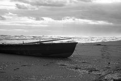 Old Boat. On the beach Stock Photo