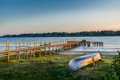 Free Old Boat On The Coast Near The Wharf. Rustic Landscape With Wood Royalty Free Stock Photo - 61710905